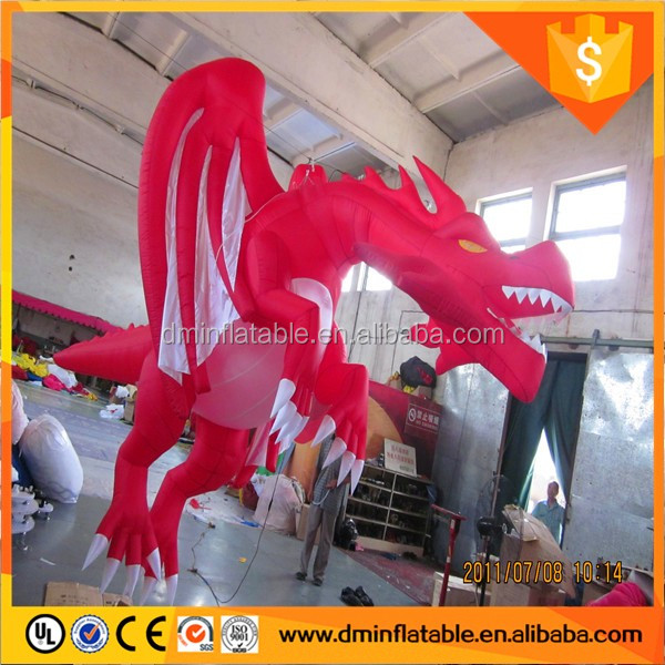 Hot popular inflatable giant flying dragon,inflatable red dragon