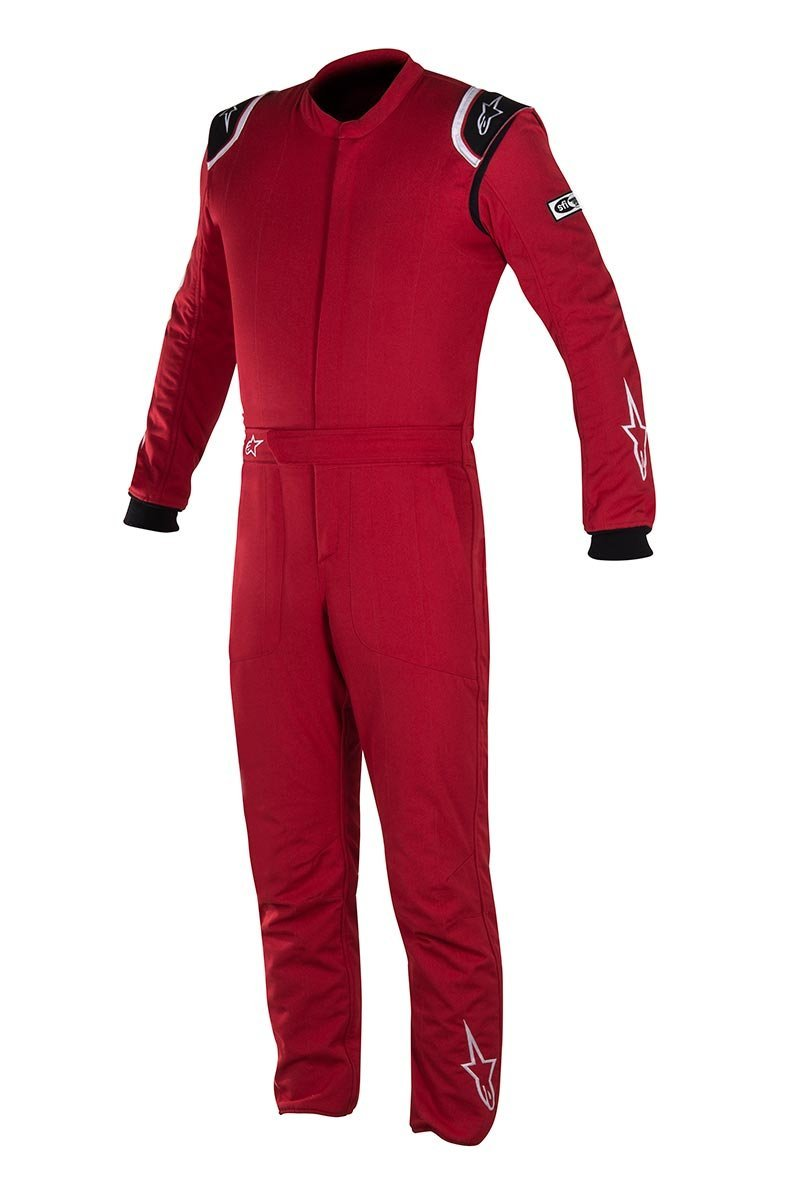 Alpinestars Delta Auto Racing Suit Boot Cut 2 Layer - Size 54 - Red/Black/White - FIA/SFI Approved (3355617-30-54)