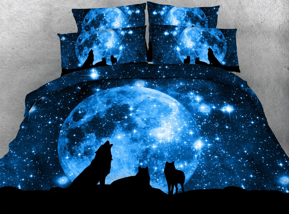 800 Thread Count Duvet Cove Sets Twin Size for Kids, Moonlight Wolf 3D Bedding Sets Twin Size,Cotton Quilt Cover Sets 4 Pieces,1 Duvet Cover,1 Flat Sheet,2 Pillowcases, No Comforter (Twin)