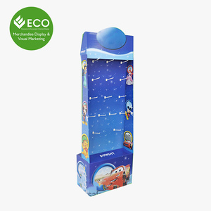 Supermarket Cardboard Hook Display For Toys, Carton Standing Display Shelf Display