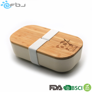 2018 Red Bamboo fiber bambus box lunch