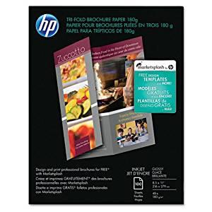 HP - Inkjet Tri-Fold Brochure Paper, 98 Brightness, 48lb, 8-1/2 x 11, White, 100/Pack - Sold As 1 Pack - Ideal for impressive three-panel brochures--pre-scored for easy folding