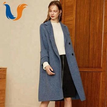 new concept 6c9fd 0605d Neues Design Frauen Blau Angepasst Logo Wolle Alpaka Mantel Retro Damen  Kaschmir Graben Wollmantel - Buy Alpaka Mäntel Für Frauen,Graben Wolle  Mantel ...