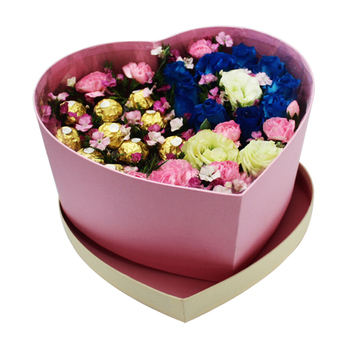 Luxury Paper Chocolate And Flower Toy Packaging Heart Shaped Gift Box