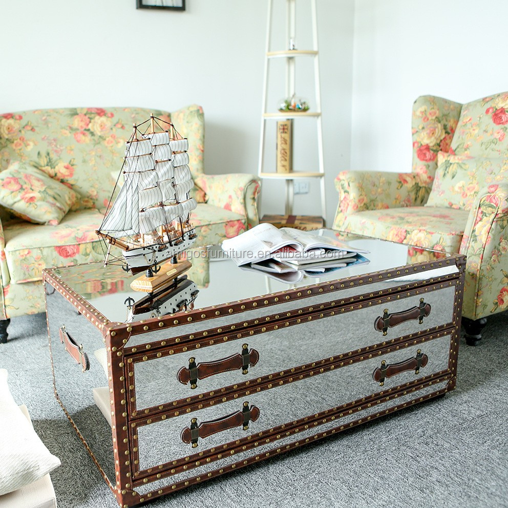 Metal Mirrored Trunk Coffee Table Nautical Tables Antique Silver Style Product On