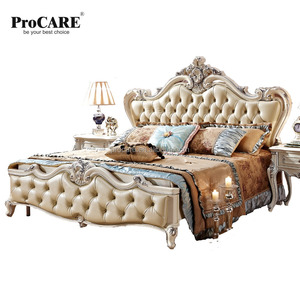 LUXURY EUROPEAN AND AMERICAN STYLE FURNITURE ROYAL SERES BEDROOM LEATHER BED 8013-1