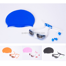 Best quality silicone children swimming caps and swimming goggles sets