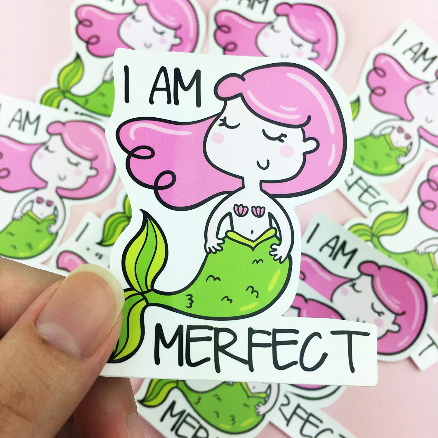 I Am Merfect Vinyl Sticker, Mermaid Sticker, Perfect , Skateboard Sticker, Decorative Stickers, Cute Sticker, Kawaii Sticker, Pretty Sticker