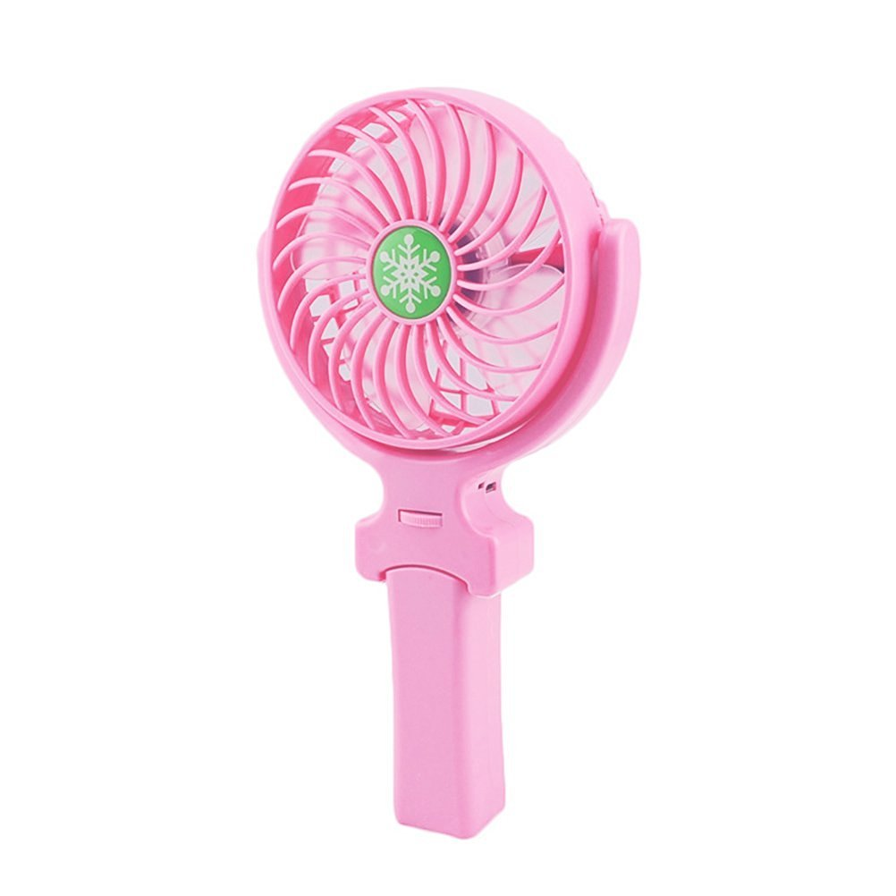 VORCOOL Usb Fan Mini Fan Portable 3 Gear Speed USB handheld Battery Rechargeable Multifunctional Fan Pink