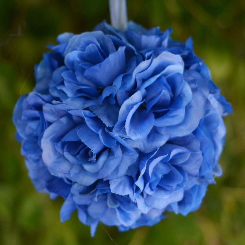 Buy 4 Pcs Royal Blue Roses 7 Kissing Balls Wedding Party Flowers
