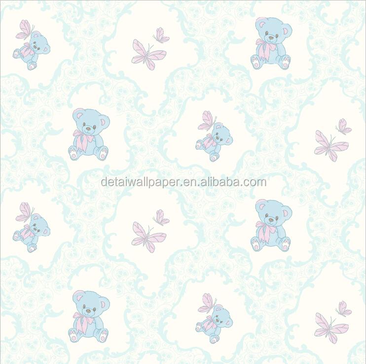Children S Room Little Cute Bear Decorative Wallpaper Blue Color