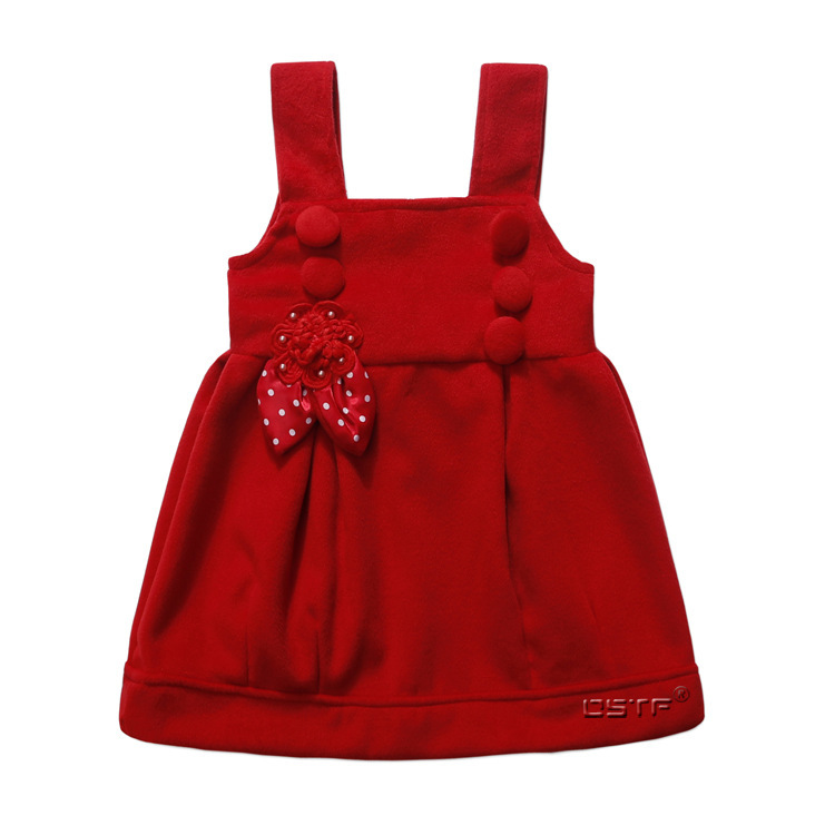 2015 Girls Flowers Spring Autumn Winter Woolen Vest Tutu  Dress Cute Toddler Girls Dresses Princesse Enfant Drop Shipping