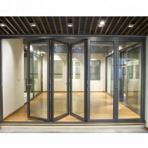 price china door frame exterior aluminium tempered glass bifold folding door
