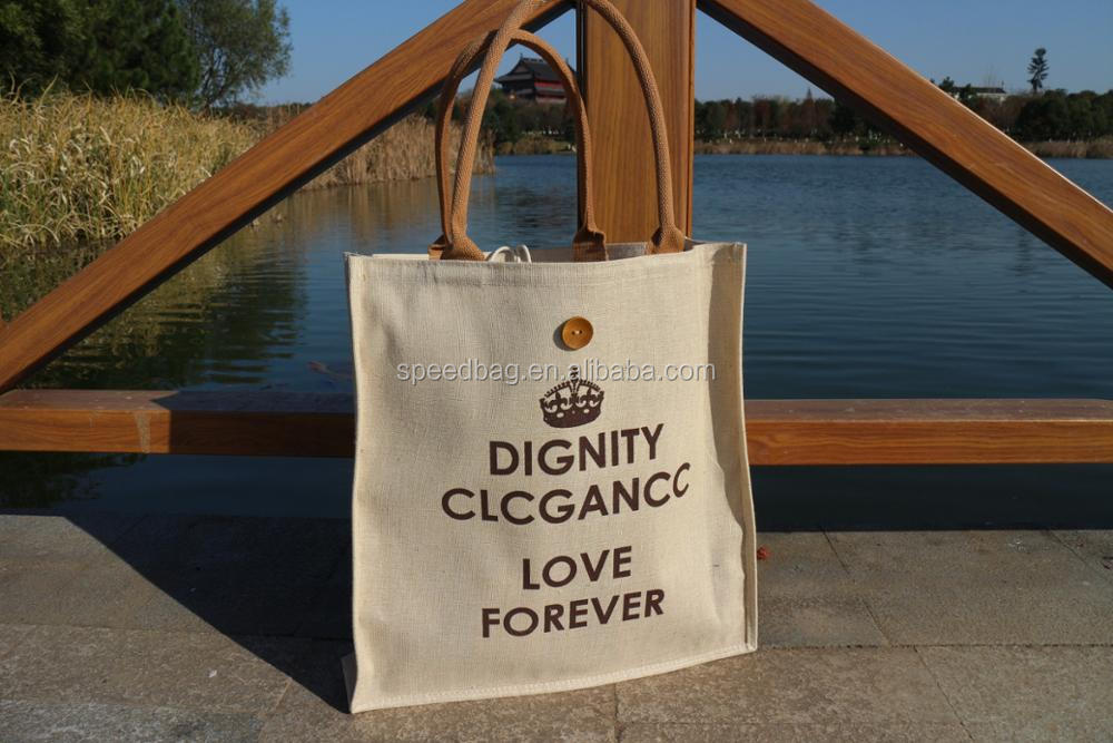 Customized printed jute hemp fabric shopping bag linen tote bag for gift