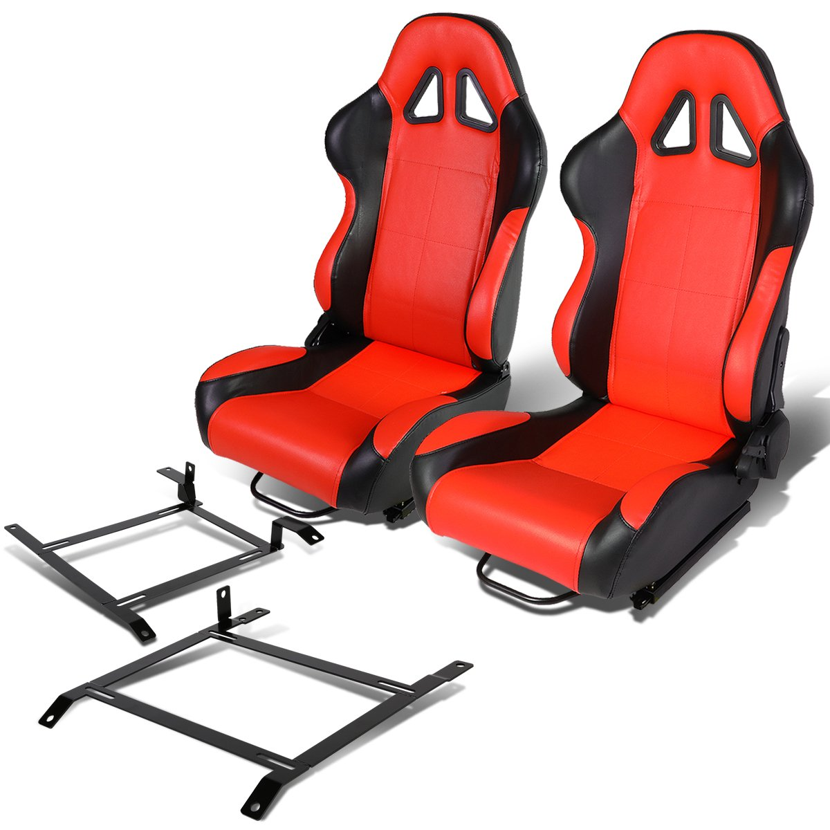 Pair of Full Reclinable Black and Red Carbon Look PVC Leather Type-4 Racing Seat+Adjustable Sliders