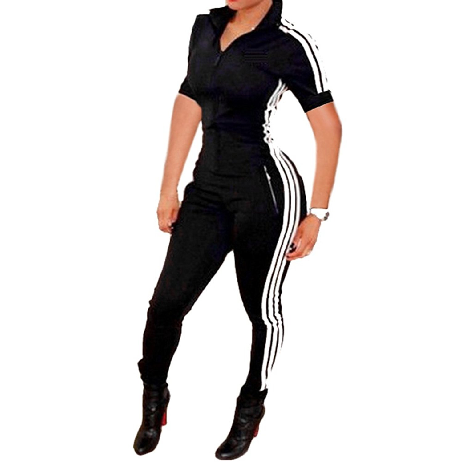 Slim Bloom Women Sexy Zipper Sport Fitness Short Sleeve Bodycon Jumpsuit Romper Unitard