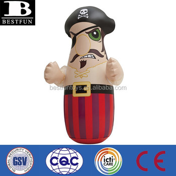 Pirate Boxer Design Kids Inflatable Punching Bag Custom Child Bags Plastic 3d Bop Toys