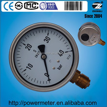4'' oil filled pressure gauge Lower Mount, SS304 case brass connection CL1.0
