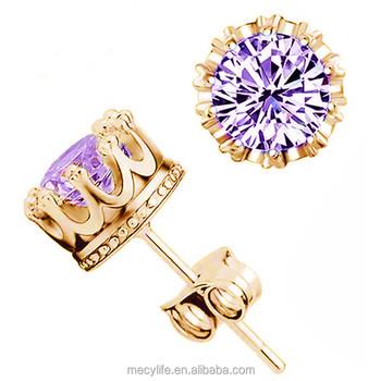 Mecylife Whole Stud Earrings Single Purple Zircon Earring Crown Shaped Leaf Shape Triangle