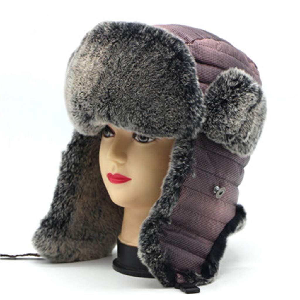 92b92e2b292 Get Quotations · Winter Trooper Hat Rabbit Fur Winter Hats with Ears Flaps  Snow Outdoor Bomber Hat