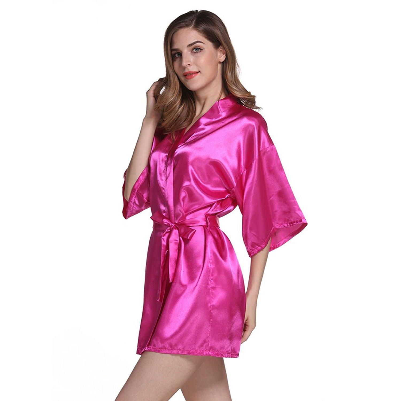 Get Quotations · Amurleopard Womens Kimono Robe Knee Length Bridal Lingerie  Sleepwear Pure Colour Short Satin Robe Pink M 4b64aa2bb