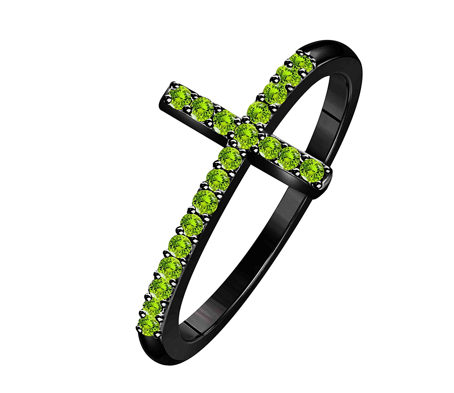 Hot Sale !!! Women's Cross Lab Created Peridot Thin Stackable Black Rhodium Plated Sideways Cross Ring (Size 4 - 11)