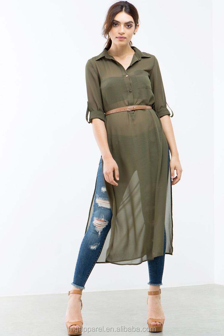 Ladies Tunic Top Wholesale Long Chiffon Women Tunic Side Slit ...