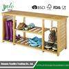 Living room Durable organizer 2 tiers Bamboo Storage Bench