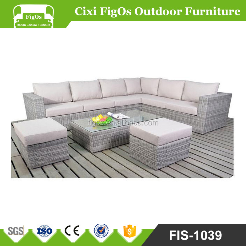 Houston Grey Mixed Outdoor Patio Furniture Set Sectional Sofa 5