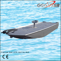 Fishing aluminum bass boat with casting deck