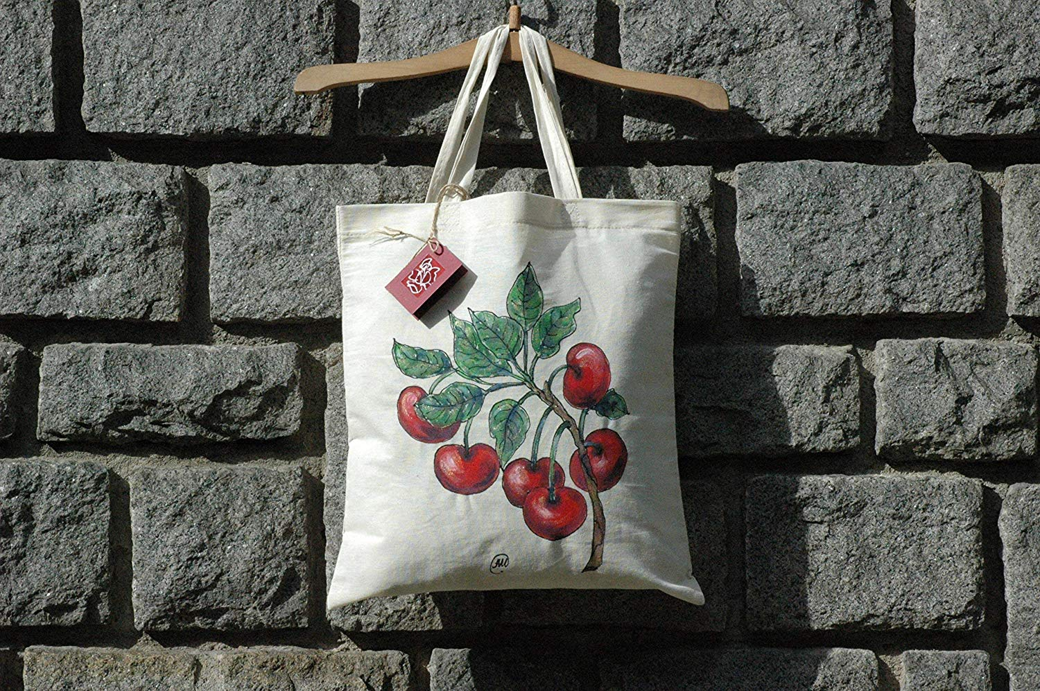 Sale!!!15% Off,Hand Painted Cherryies Cotton Bag,Cherry Illustration on tote bag,Organic cotton tote bag,Acrylic Painted Cherries,Bag Summer Fruit Cherry.