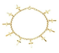 14k Yellow Gold Organic Cross Charm Bracelet, 7.5