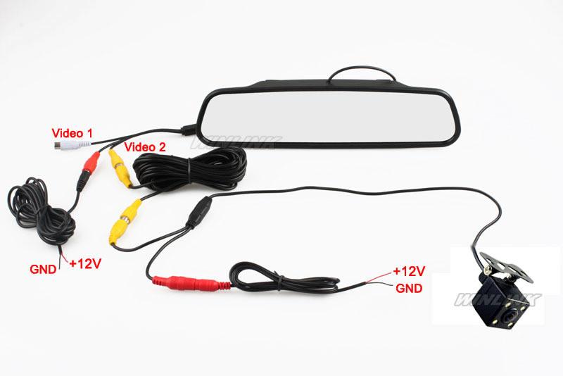 Пзс-hd водонепроницаемый парковка видеоняни система, Из светодиодов ночного видения 170 автомобильный камера заднего вида с 4.3 дюймов автомобиль зеркало заднего вида монитор
