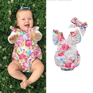 Floral Flutter Romper Newborn Infant Kids Romper Clothes New Born Baby Clothes Sleeve Jumpsuits