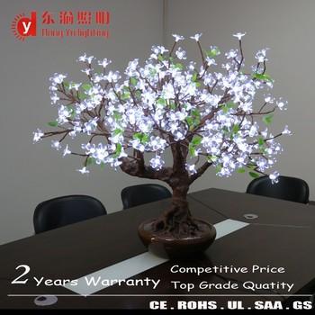 Indoor Hotel Decoration Led Cherry Blossom Tree Light Ornamental Bonsai With Ceramic Pot