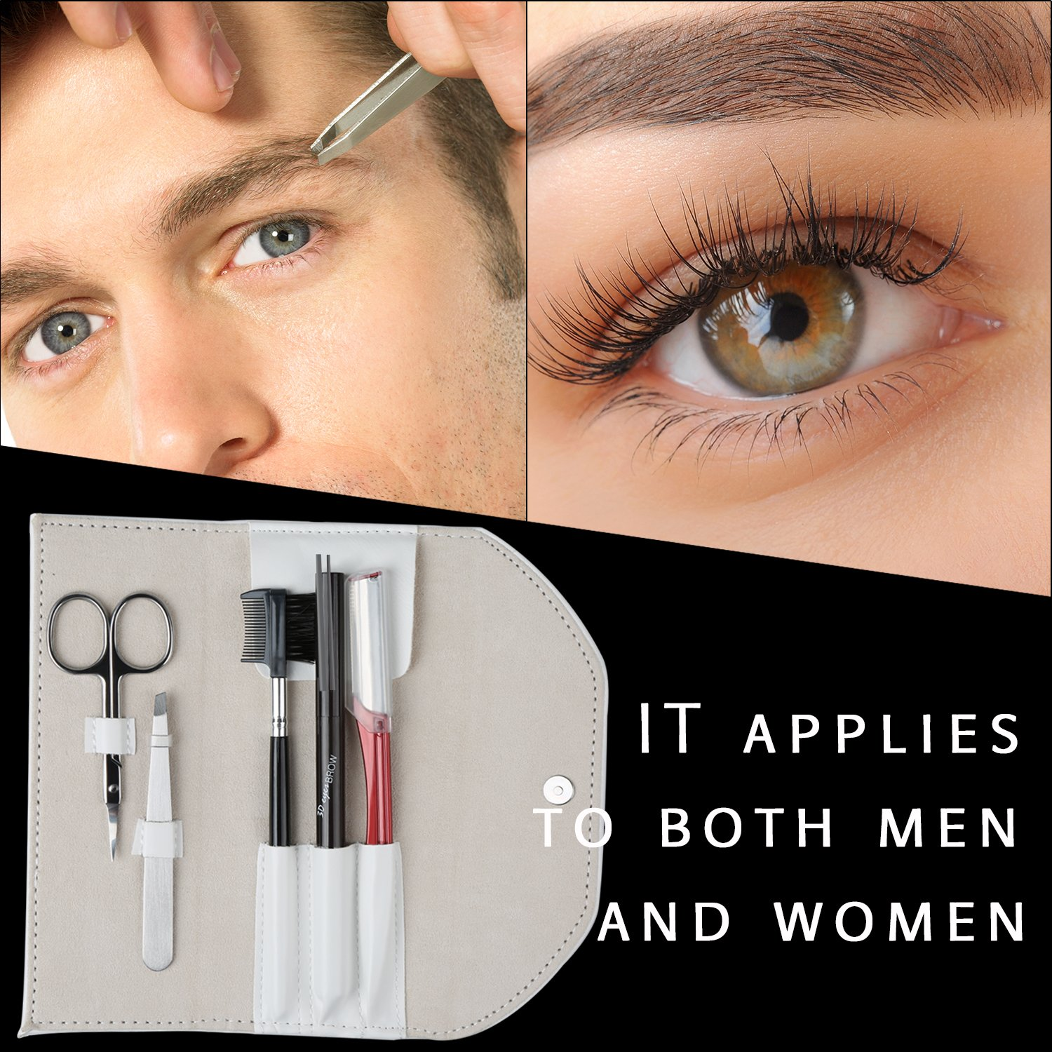 5 In 1 Eyebrow Kit for Man and Woman BIFY Unisex Eyebrow Grooming Gift Eyebrow Care Set of Eyebrow Scissors Eyebrow Sharper Eyebrow Pencil Eyebrow Tweezer and Eyebrow Brush/Comb with white Travel Case
