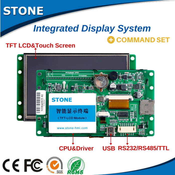 Easily Programmable TFT LCD display with touch screen--support 1 piece sample with Command Set/Software/Instruction