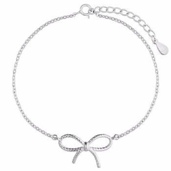 925 Sterling Silver Bracelets For Women Bow Bowknot Simple Style Cuff Bangle S Bracelet Wedding