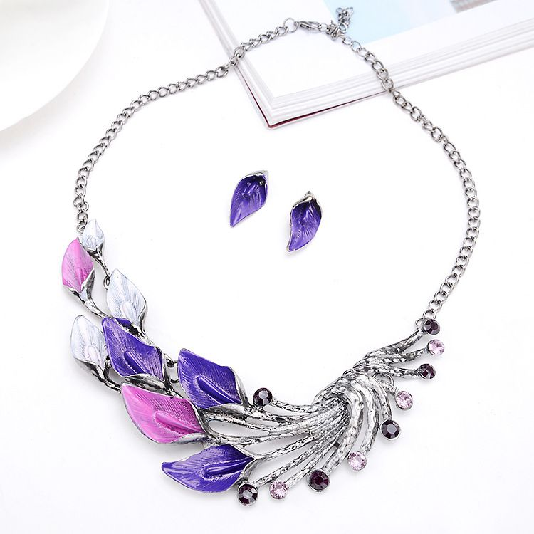 2019 Korean Fashion Necklace Begonia Taro Flower Peacock Tail Jewelry Set