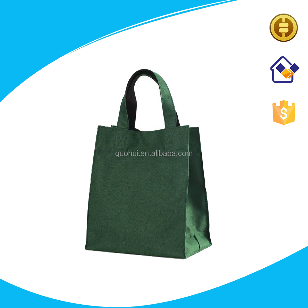 Eco friendly green canvas promotional tote bag, custom style cotton canvas tote shopping bag