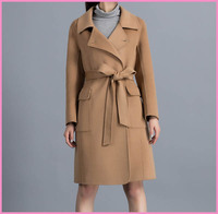 lady trench coat with belt brown long women coat