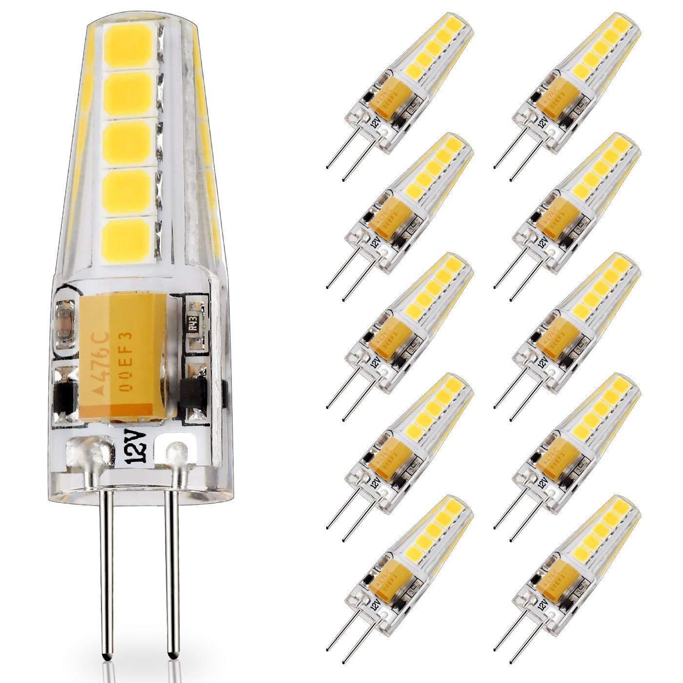 10-Pack G4 Base LED Bulb, 20W Glass Halogen (Daylight White 6000K) Light Bulbs Replacement, 12V AC/DC, 2 Watt/230 Lumens, JC T3 Lamp for Under Cabinet Puck Light, Chandelier, Landscape Lighting