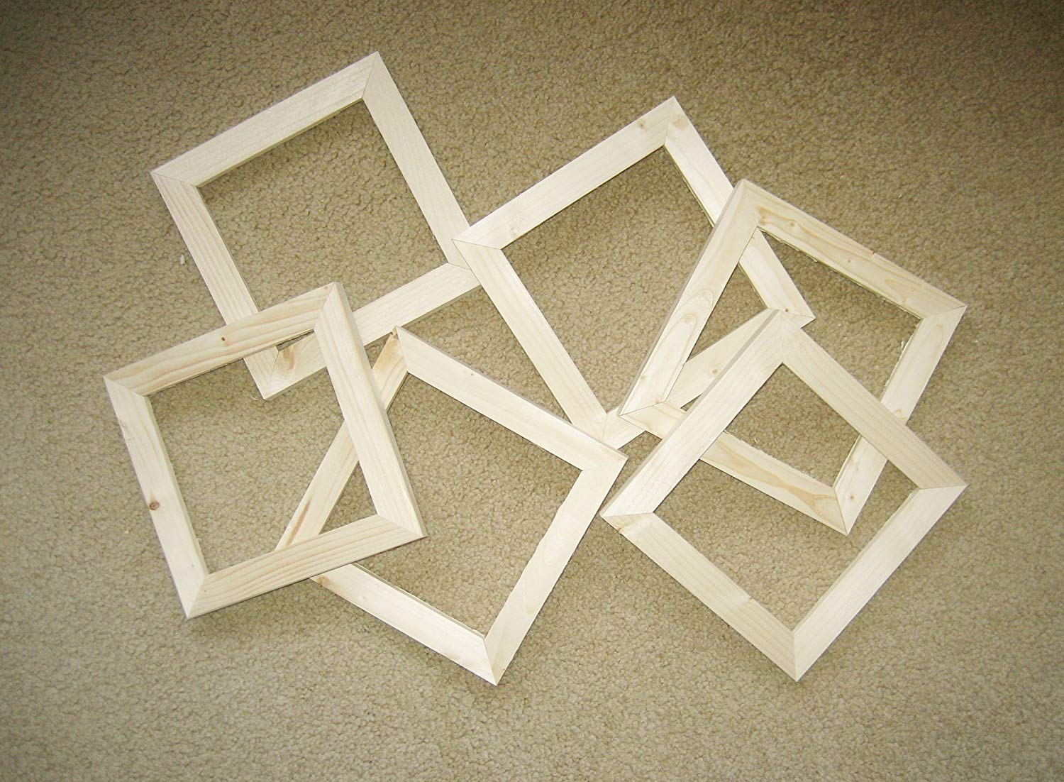 6 unfinished 6x6 rough cut wood picture frames