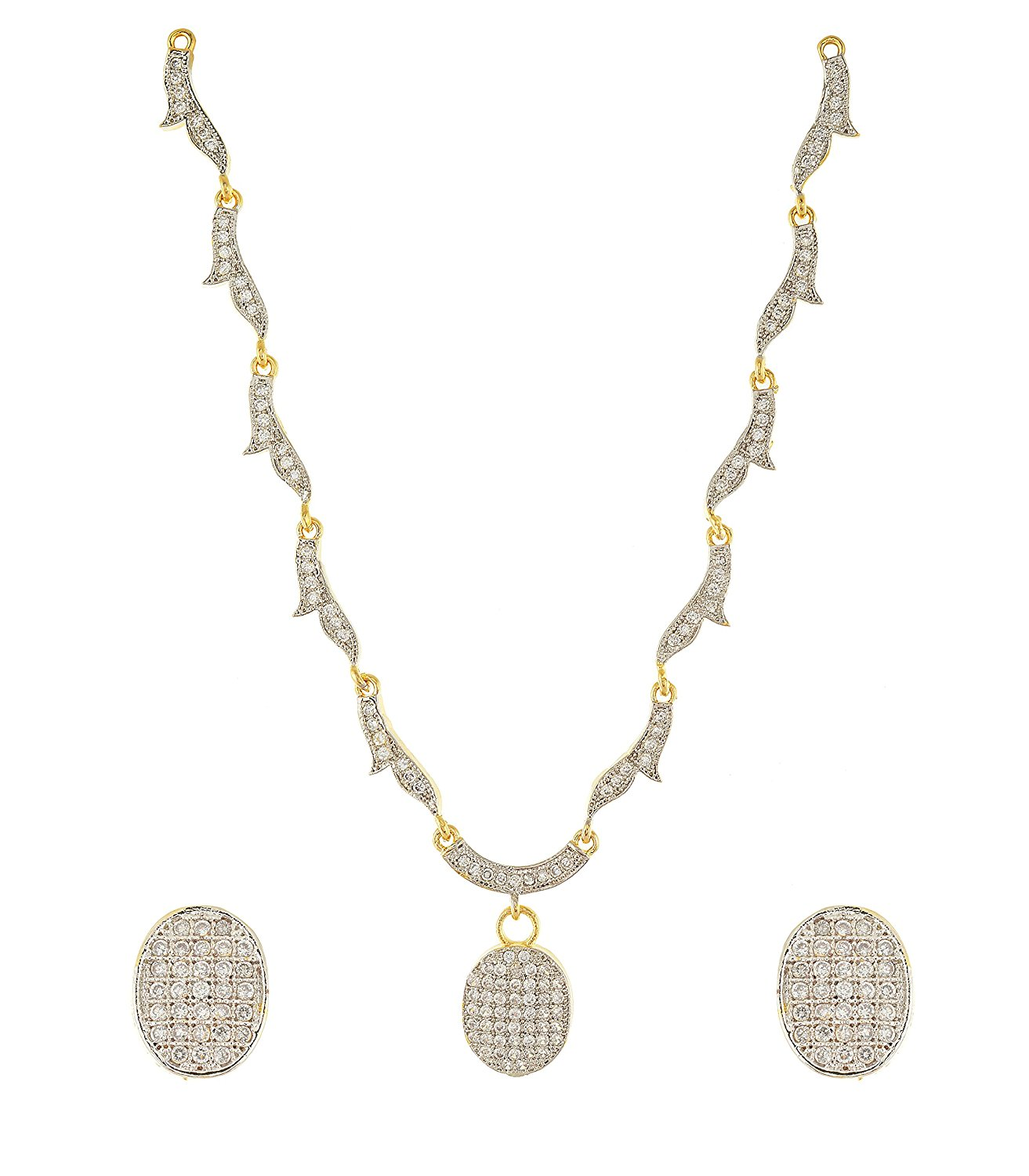 Handicraft Kottage Women's Gold and Silver Gold Plated Strand Necklace Set (HK-Neck-023)