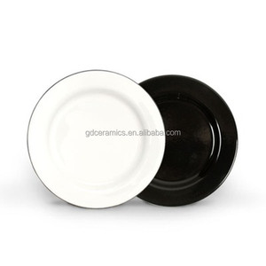 Wholesale Saucer Enamelware Dinner Plate, logo printed metal enamel tray Ceramic Coating