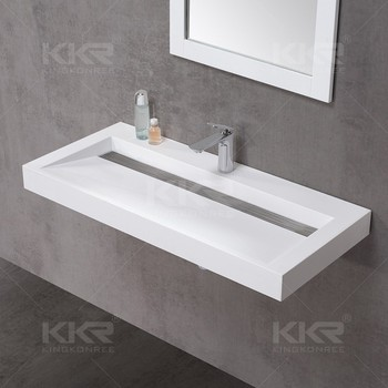 Elegant Solid Surface Long Narrow Bathroom Basin