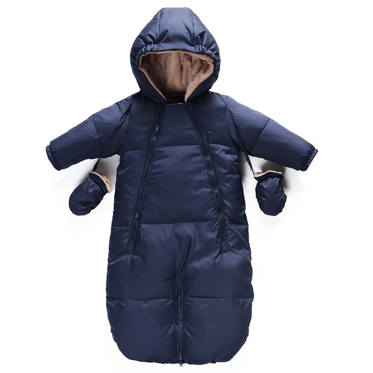 Зимний пуховик, Ребенок одежда подняться новорожденных утолщение с капюшоном комбинезон был спальный мешок дуа