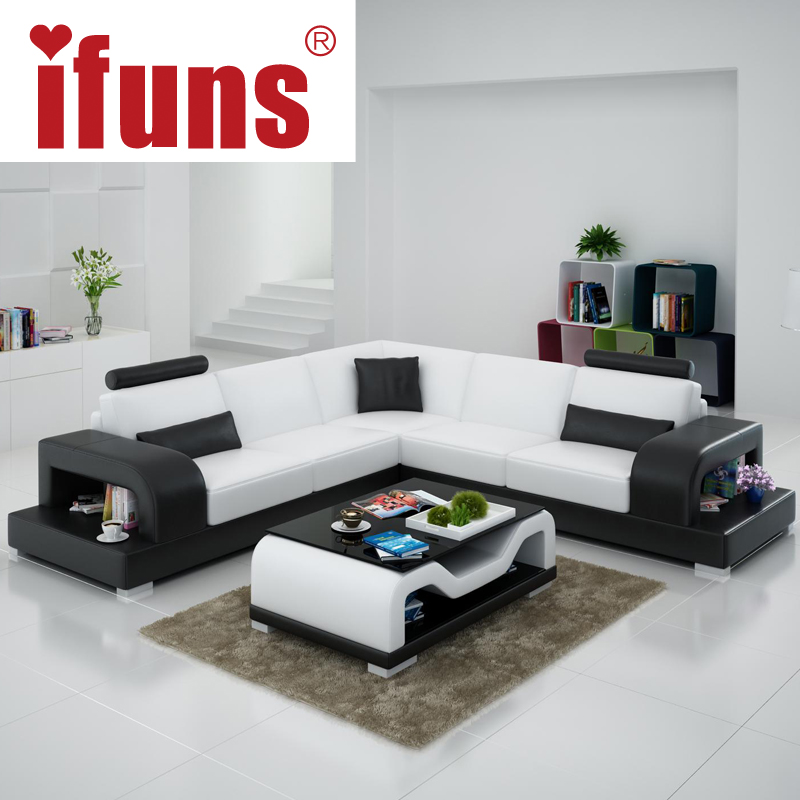 Relax Contemporary Italian Corner Sofa In Cream Leather: IFUNS Classic Italian Real Leather Modern European Sofa