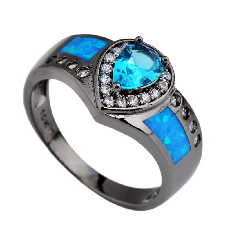 Ocean Blue Fire Opal Stone Ring Heart Aquamarine Sapphire Women/Men Engagement Rings White CZ Black Gold Filled Wedding Band