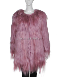 YR083A New European and American Sweet Goat Fur Coat Wholesale/Long hair Goat Fur Coats